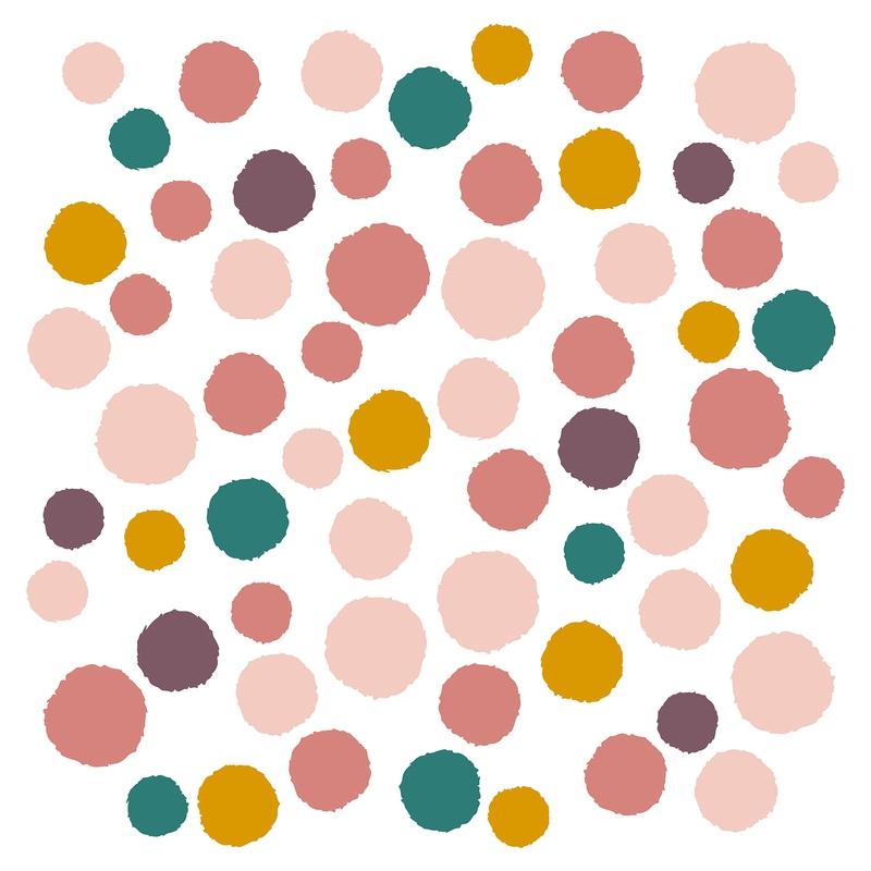 Wandsticker 'Punkte' rosa/senfgelb 62-tlg.