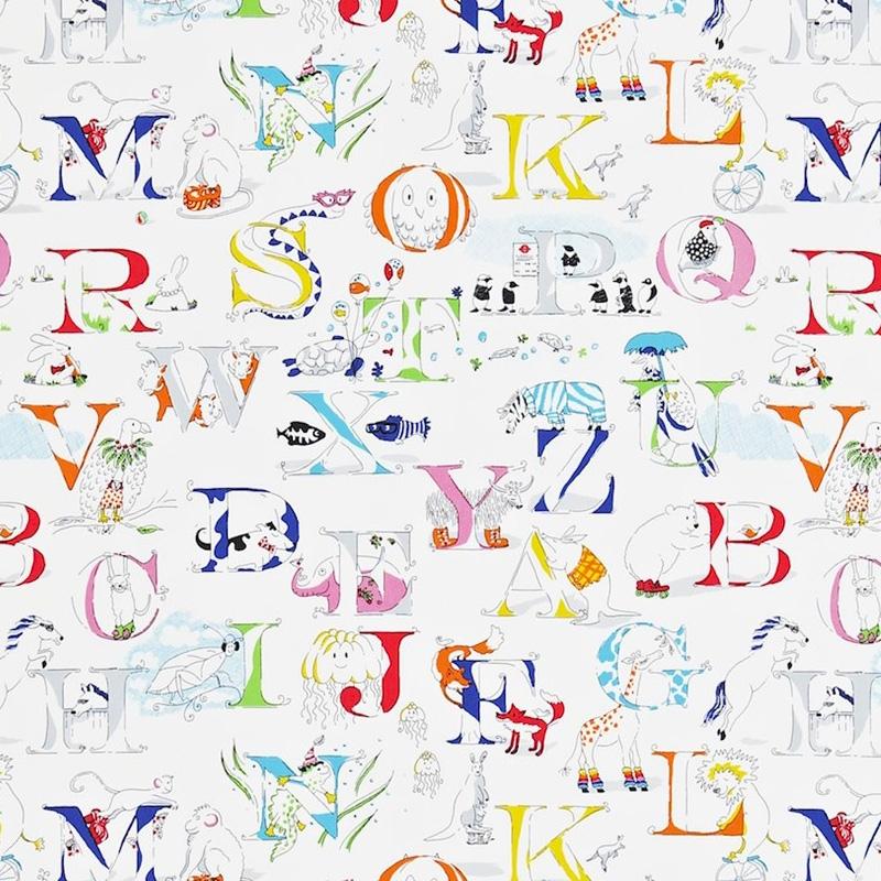 Kinderzimmer Stoff 'Alphabet Zoo' rot/gelb