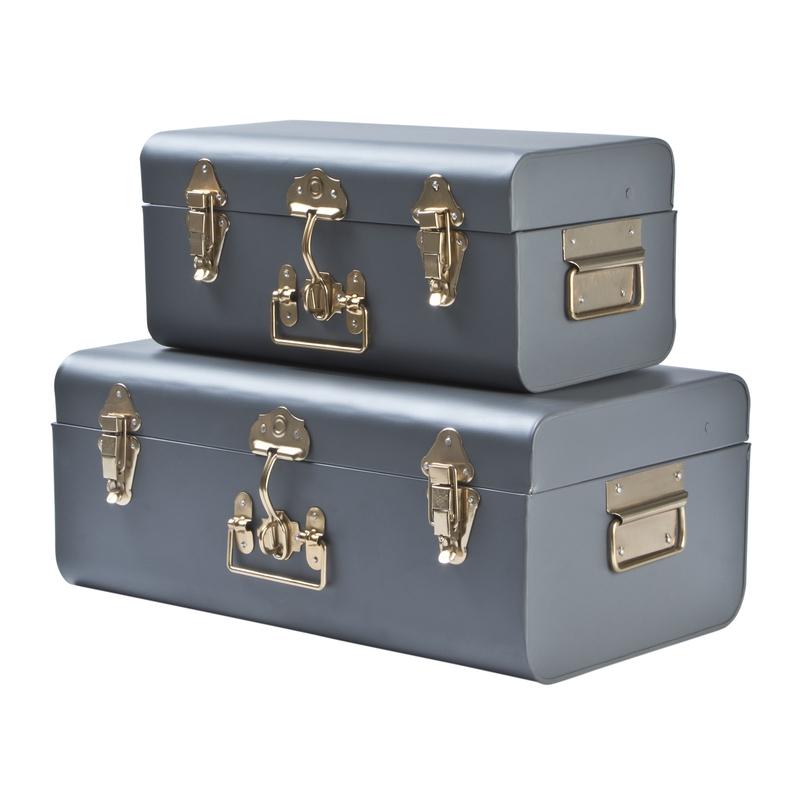 Aufbewahrung/Koffer aus Metall grau 2er Set