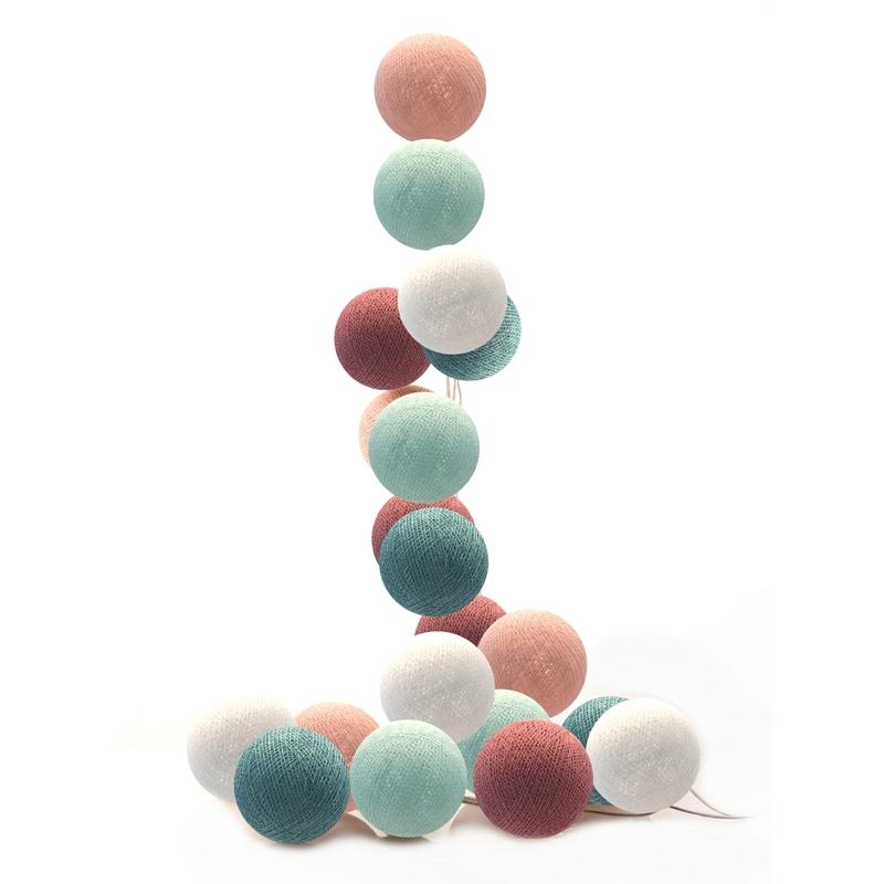 Lichterkette Cotton Balls LED altrosa/mint