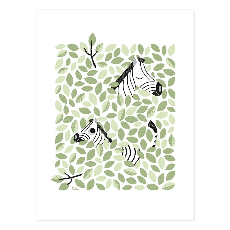 Poster 'Versteckt' Zebras grün 30x40cm