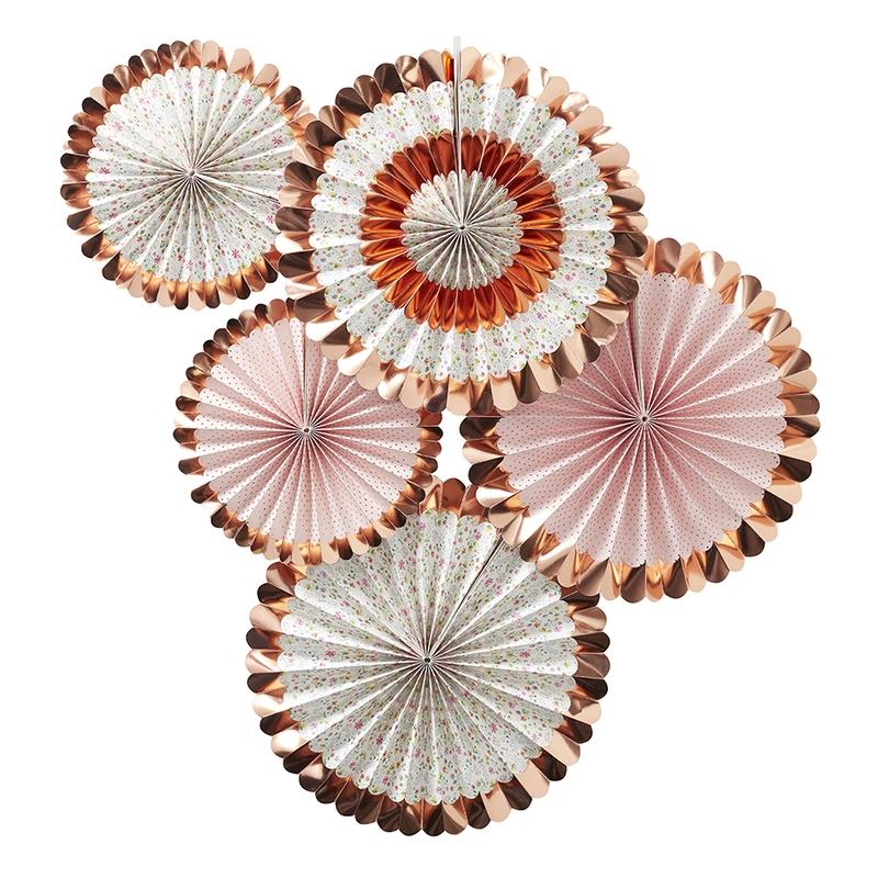 Dekofächer 'Ditsy Floral' roségold 5er Set