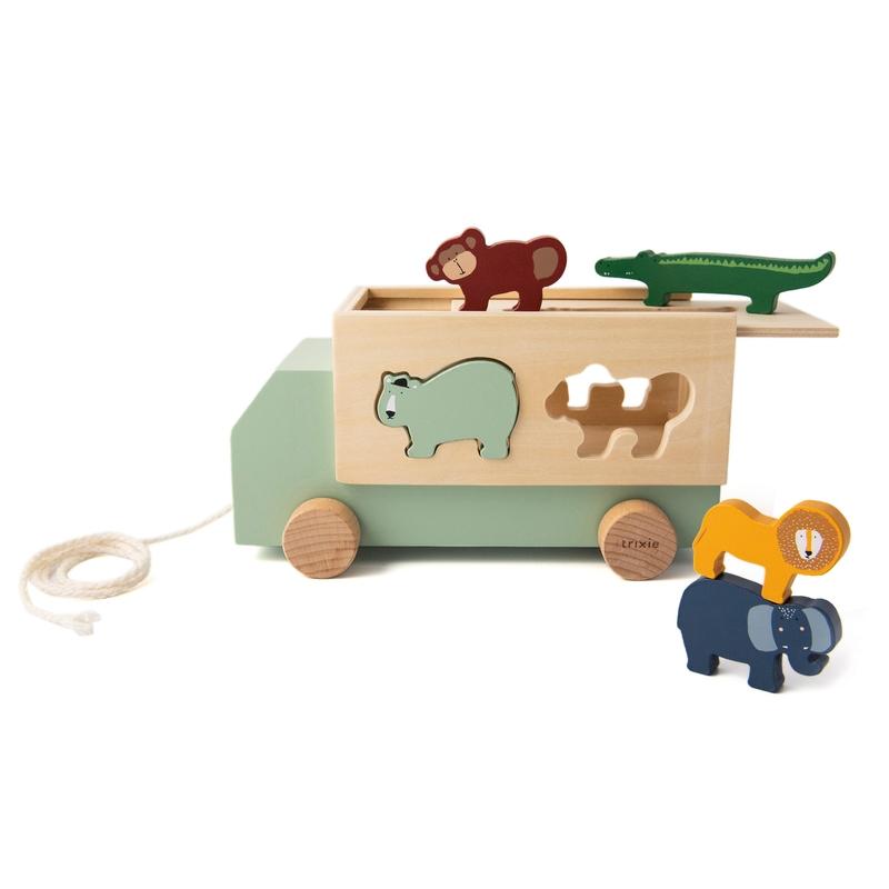 Nachziehbus mit Steckspiel Holz ab 18 Monaten