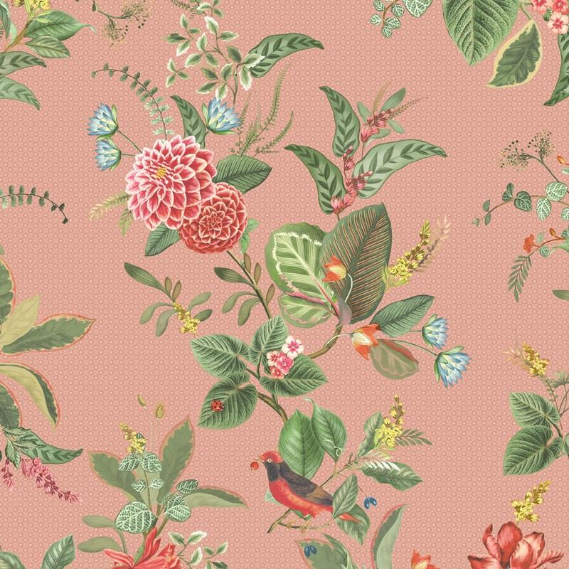 Vliestapete 'Floris' Blumen altrosa/grün