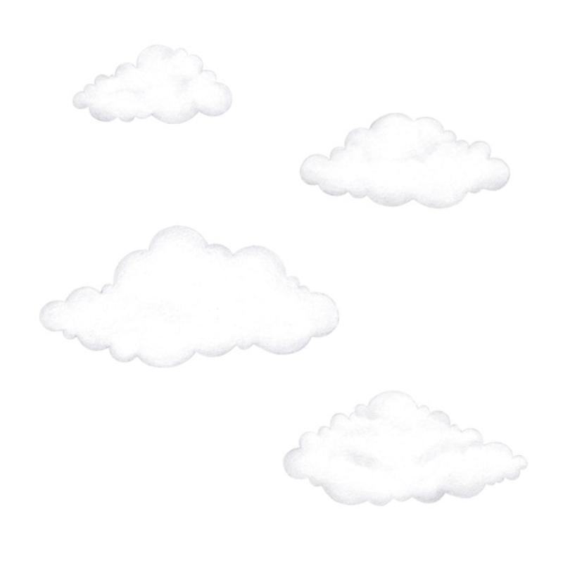 Wandsticker '4 Wolken' weiß/grau 3D Optik