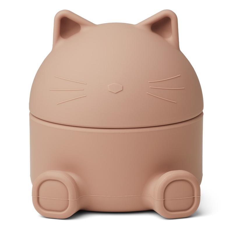 Schatzdose 'Katze' Silikon altrosa 13x14cm