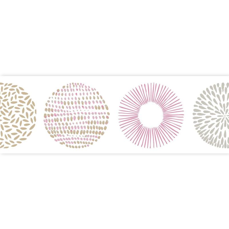 Bordüre 'Pretty Lili' Kreise rosa/beige