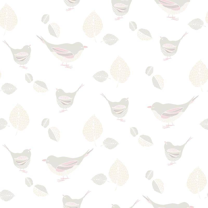 Vliestapete 'Vögelchen' softmint/creme
