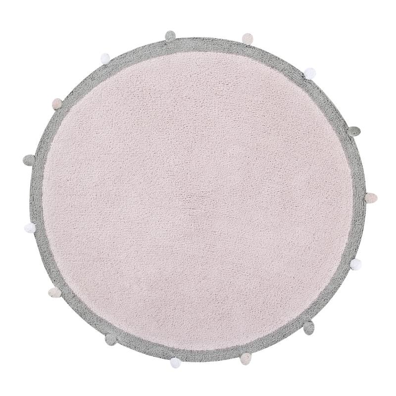 Teppich 'Bubble' rund rosa/grau 120cm waschbar