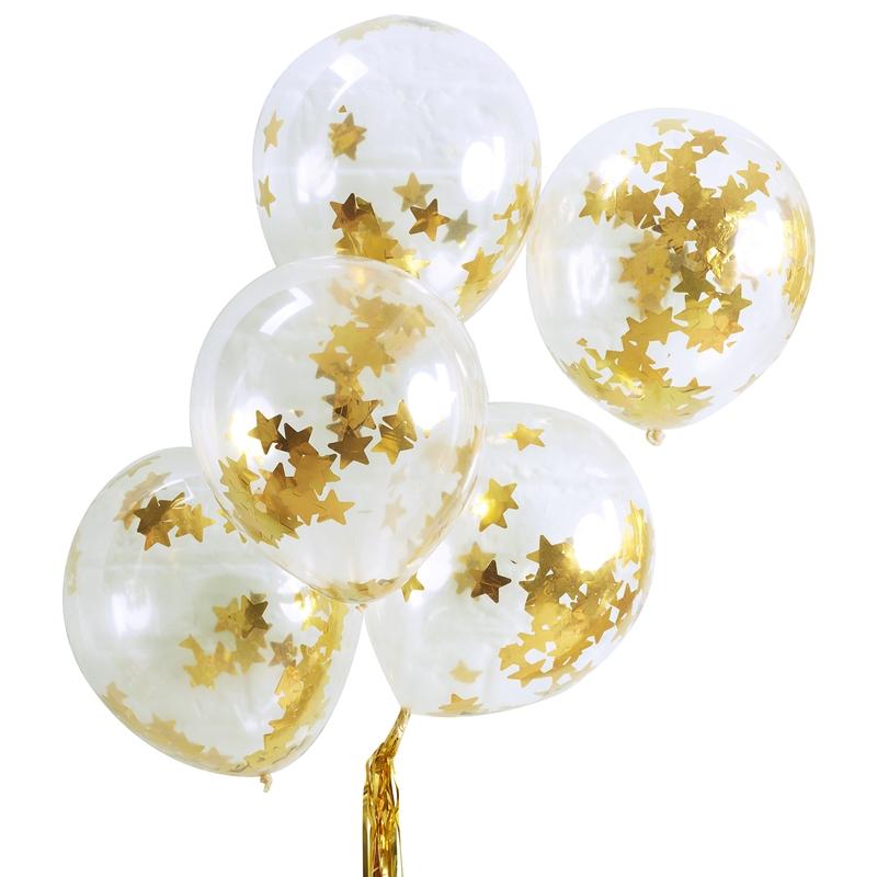 Konfetti-Luftballons 'Sterne' gold 5 St.