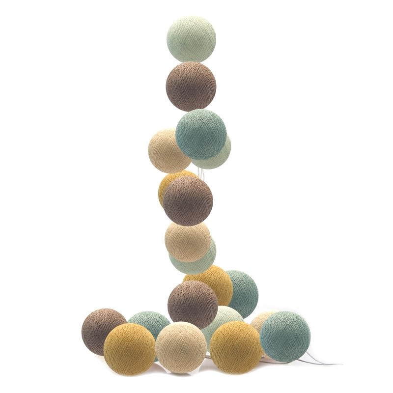 Lichterkette Cotton Balls LED beige/senfgelb