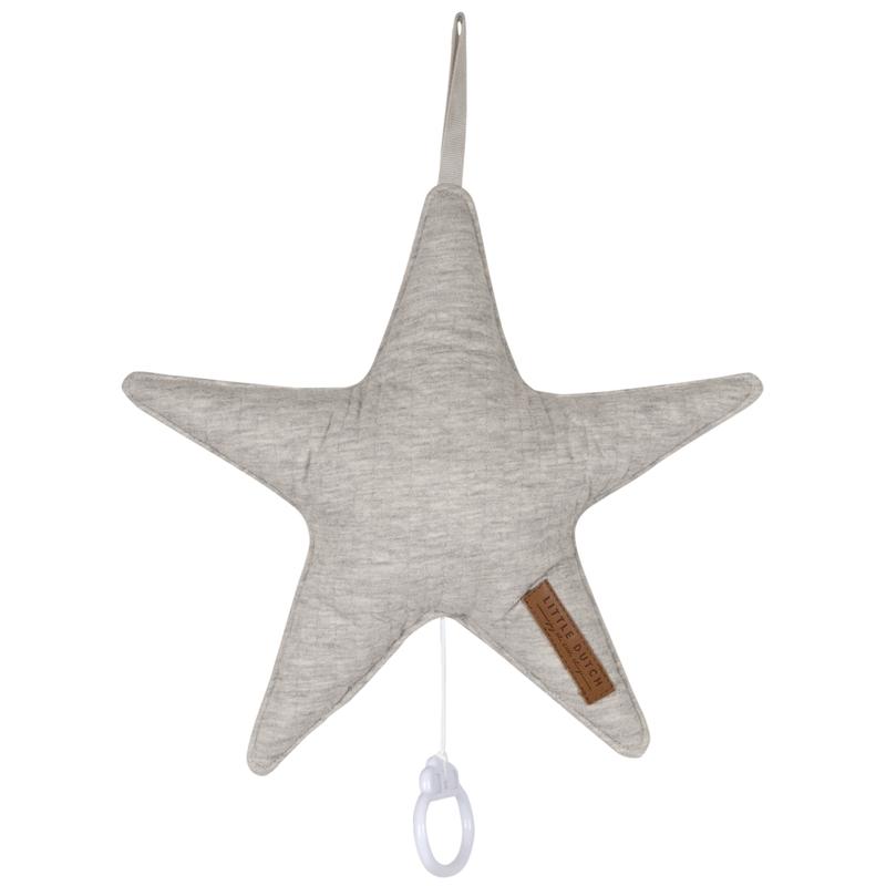 Spieluhr Stern 'Pure' Jersey hellgrau ca. 27cm