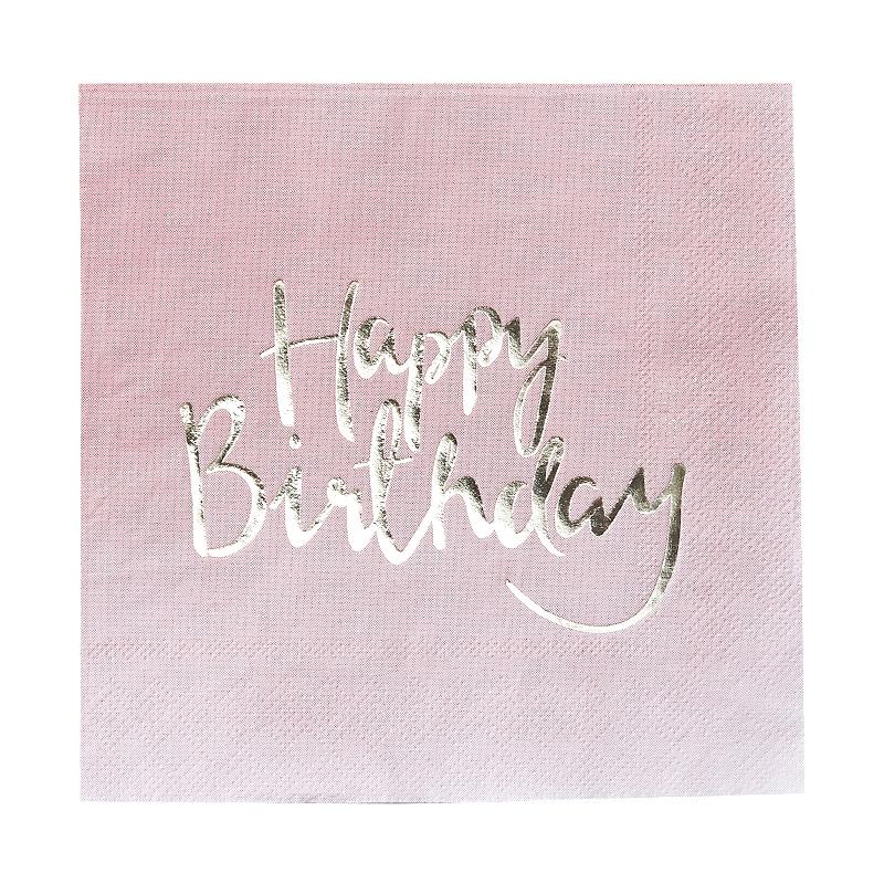Servietten 'Happy Birthday' rosa/gold