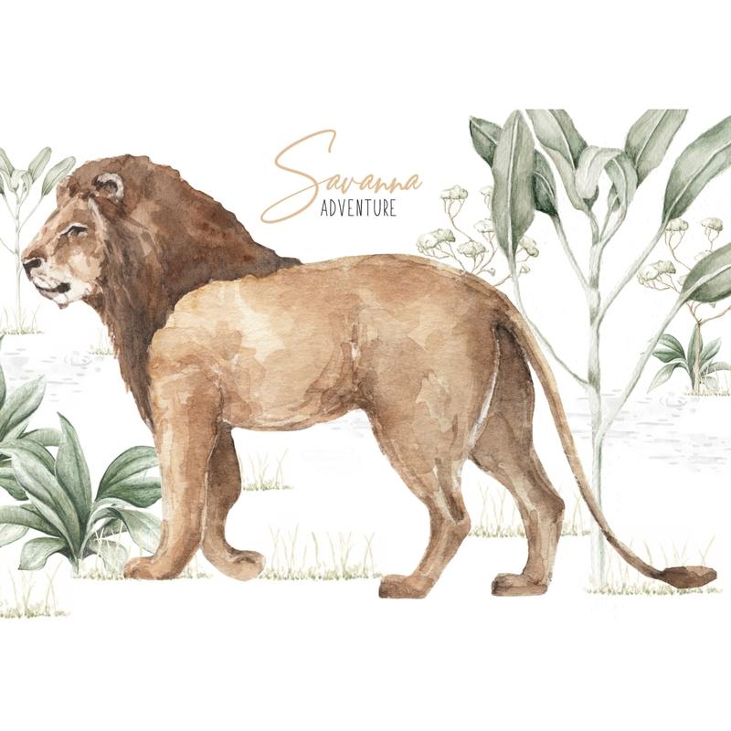 Wandsticker 'Löwe' beige/braun