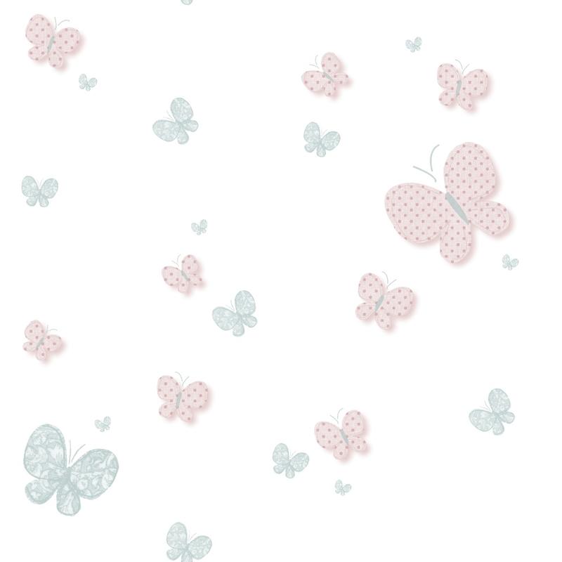 Vliestapete 'Schmetterlinge' rosa/softblau