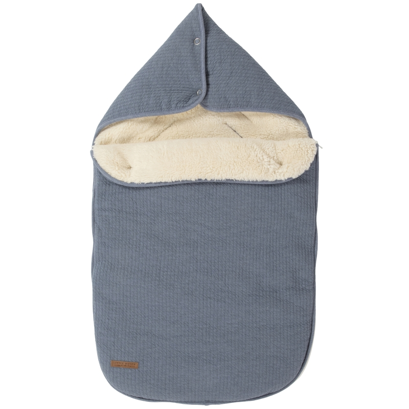 Baby-Fußsack 'Pure' rauchblau Jersey/Teddy