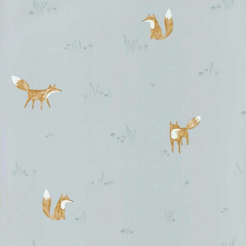Tapete 'My Little World' Fuchs blau/braun