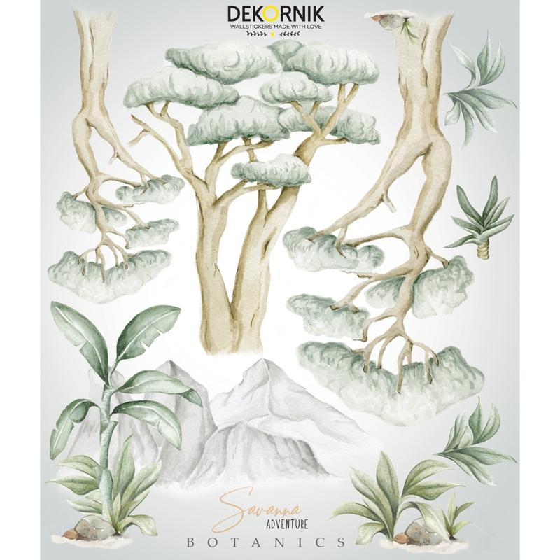 XL-Wandsticker 'Bäume & Berge' beige/grün