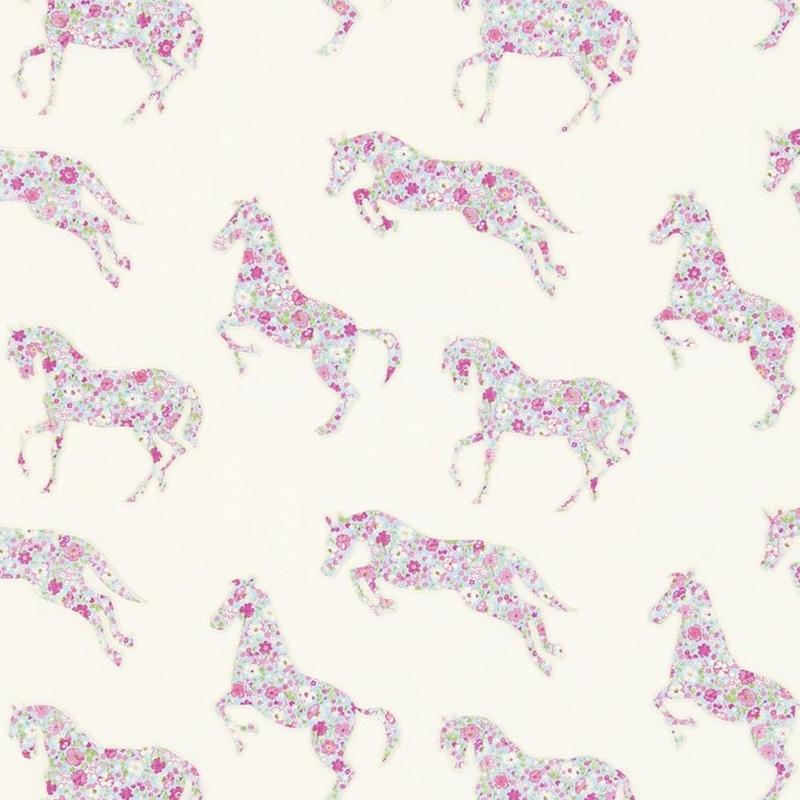 Stoff bestickt 'Pretty Pony' creme/rosa