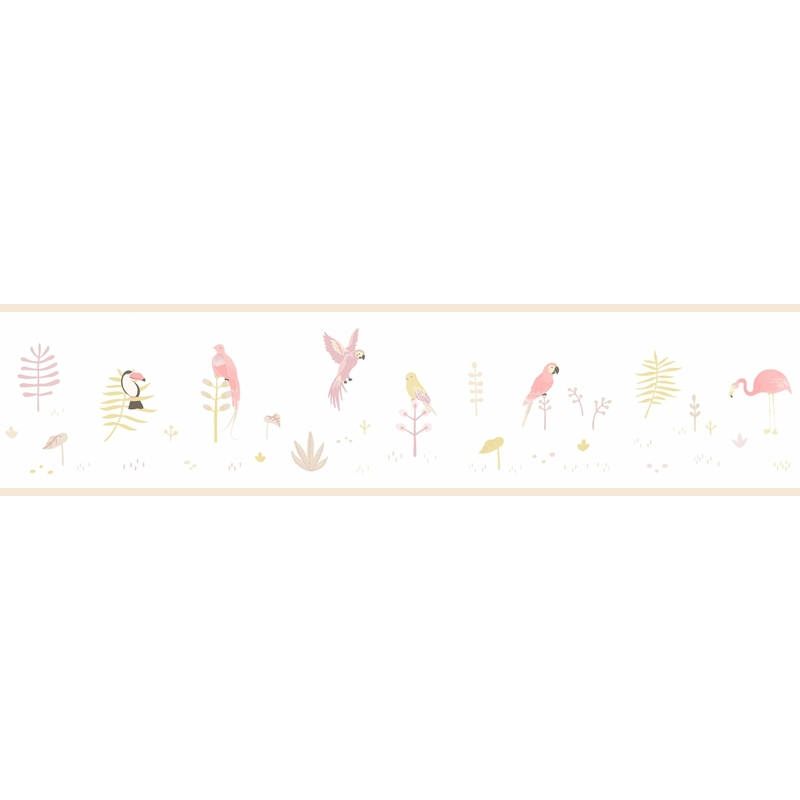 Bordüre 'Happy Dreams' Vögel rosa/grau