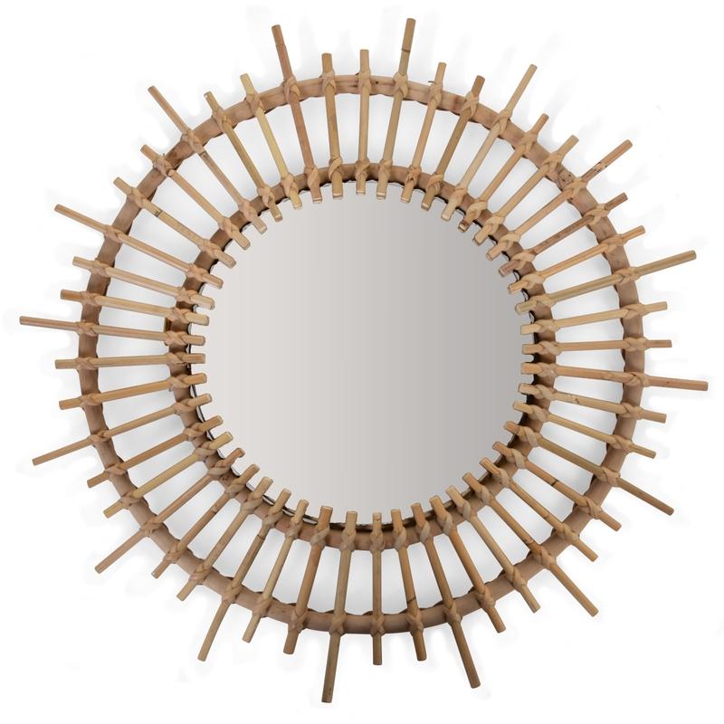 Boho-Sonnenspiegel aus Rattan 60cm