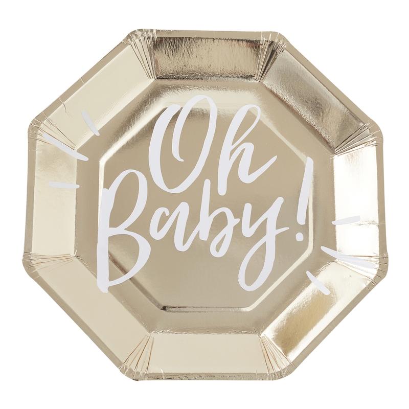 Pappteller 'Oh Baby' gold/weiß 8 St.