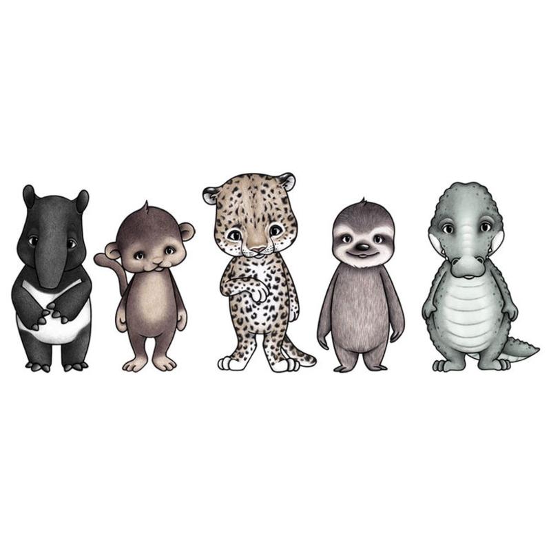 Wandsticker 'Rainforest Friends' handgezeichnet