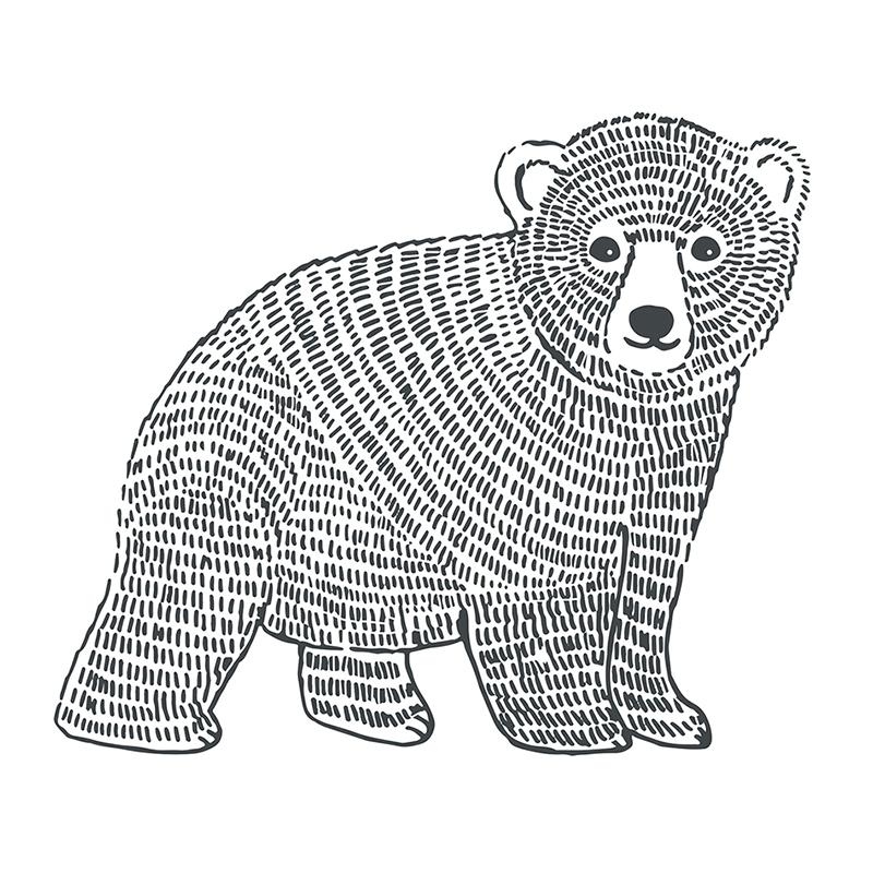 Wandsticker 'Bär' schwarz 47x40cm