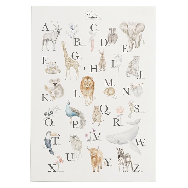 Poster 'Alphabet & Tiere' creme 42x59cm