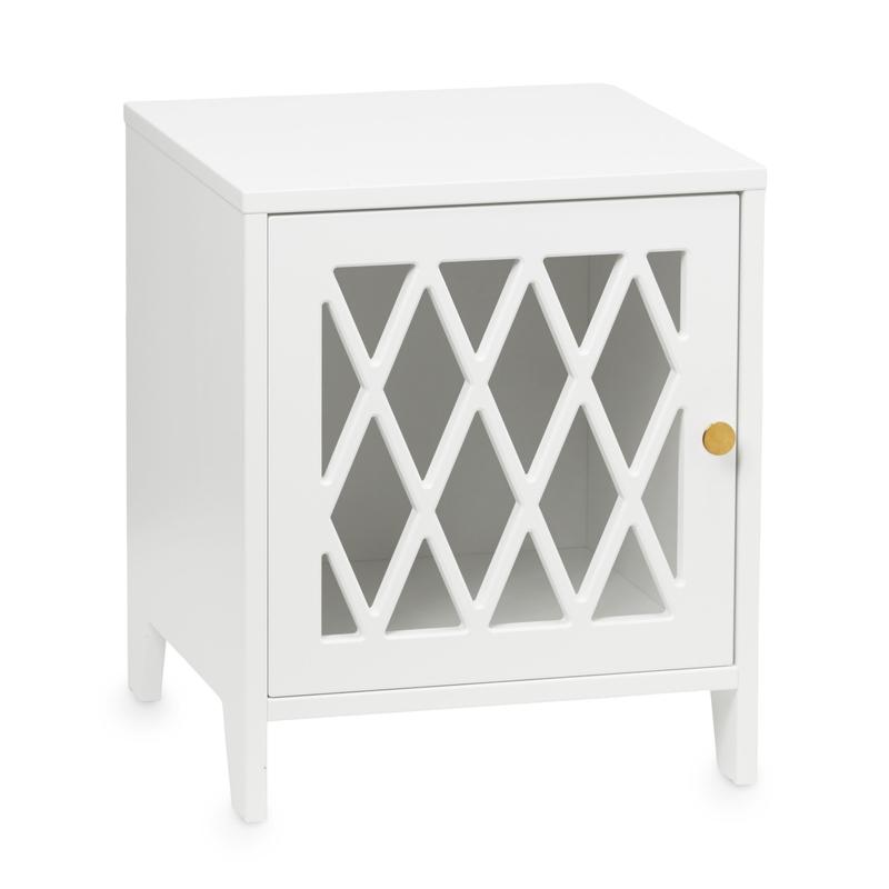 Nachttisch 'Harlequin' Holz weiß 40x47cm