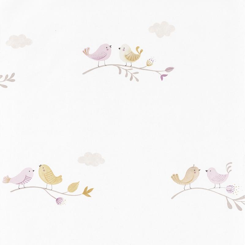 Tapete 'Rose & Nino' Vögel flieder/senf