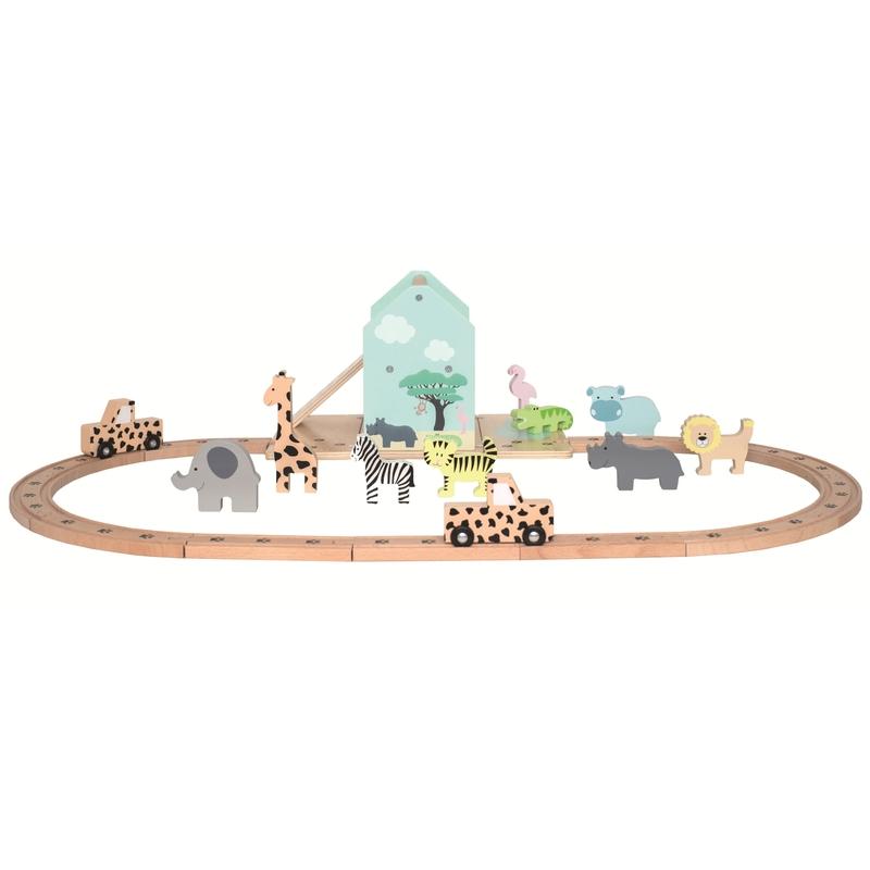 Eisenbahn-Set 'Safari' aus Holz ab 2 Jahren