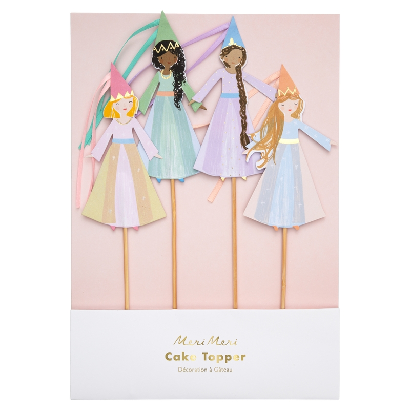 Cupcake-Topper 'Prinzessin' pastell 4-tlg.