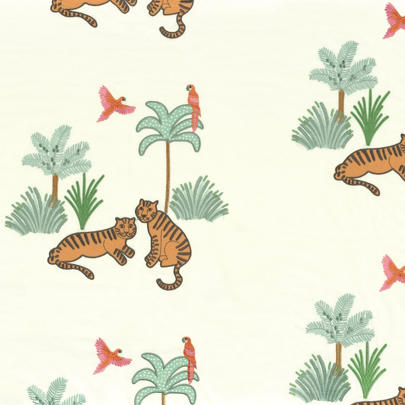 Stoff mit Stickerei 'Tiger' grün/camel