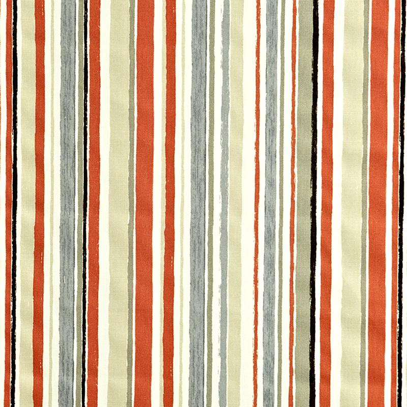 Kinderzimmer Stoff 'Streifen' terracotta/grau