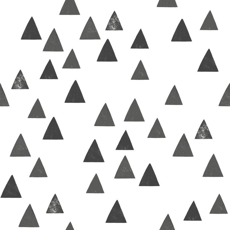 Vliestapete 'Dreiecke' weiß/schwarz