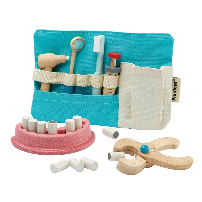 Zahnarzt-Tasche Holz/Stoff 10-tlg. ab 3 Jahren