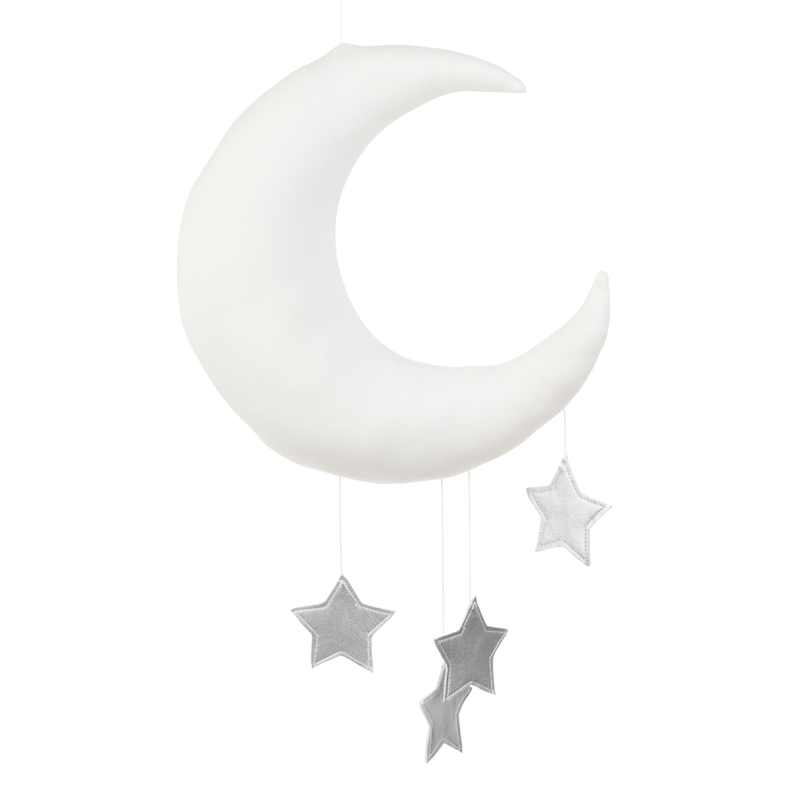 Mobile 'Mond & Sterne' weiß/silber handmade