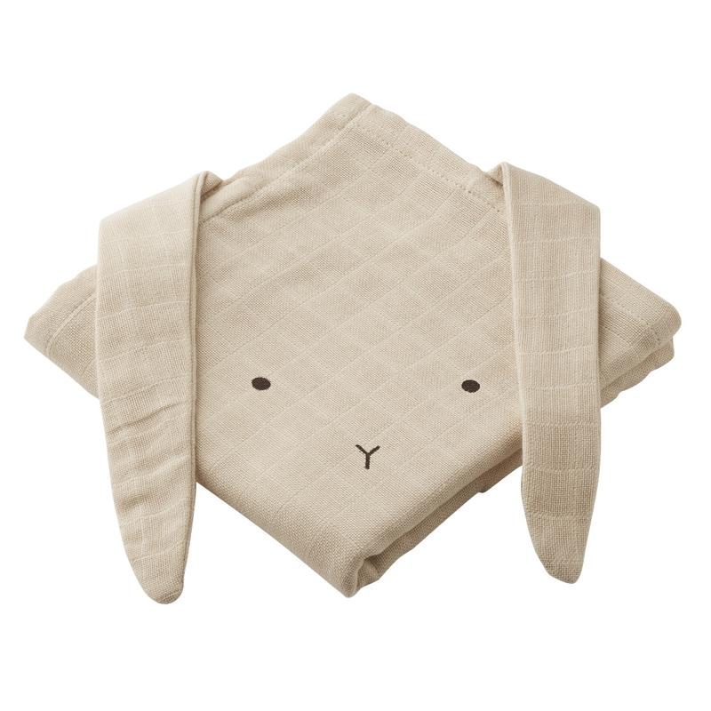Mulltücher 'Hase' beige 2er Set ca. 70cm