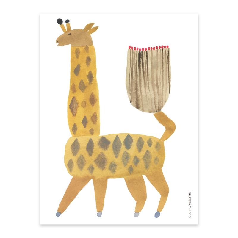 Poster 'Giraffe Noah' senfgelb 30x40cm