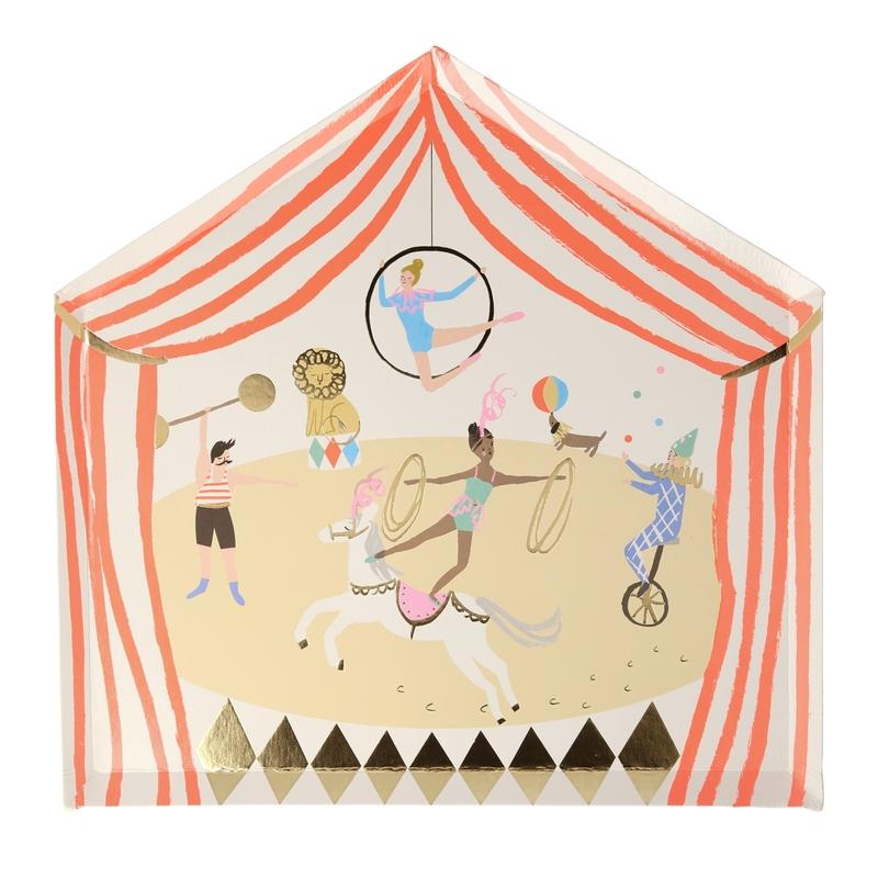 Pappteller 'Zirkus' rot/gold 8 St.