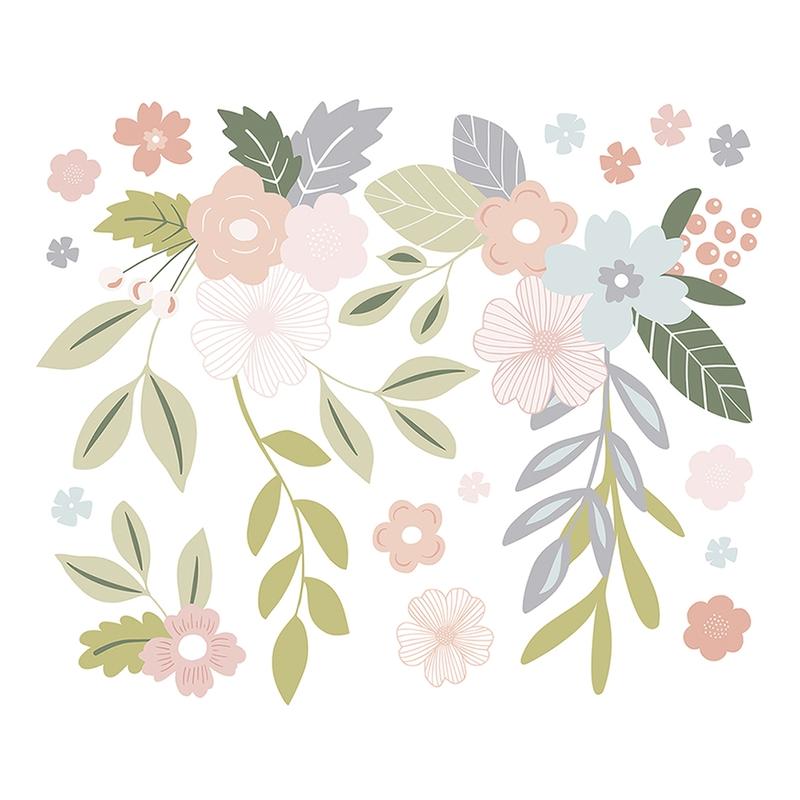 XL-Wandsticker 'Blumenranken' pastell