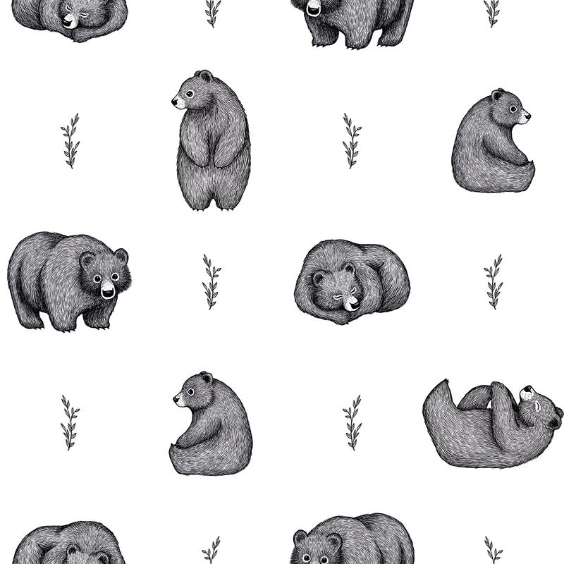 Vliestapete 'Bären' weiß/schwarz