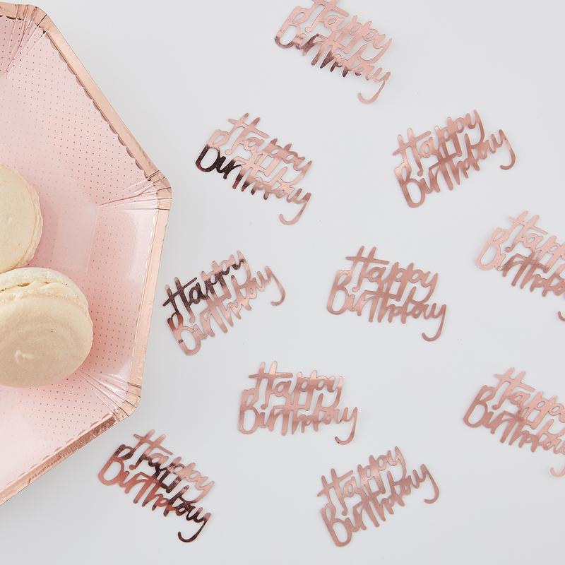 Tischkonfetti 'Happy Birthday' roségold