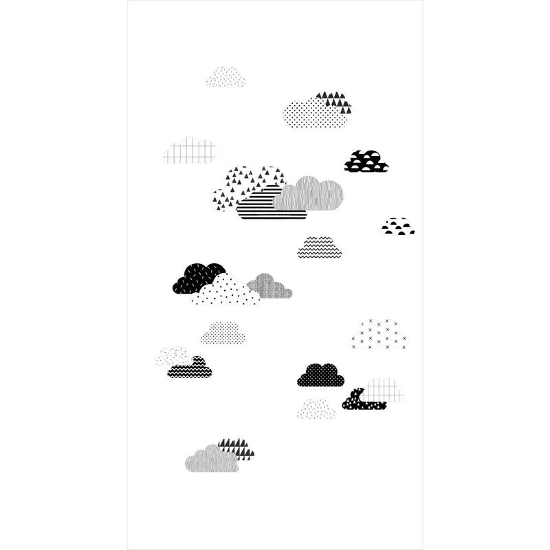 Fototapete 'Wolken' weiß/schwarz 150x279cm