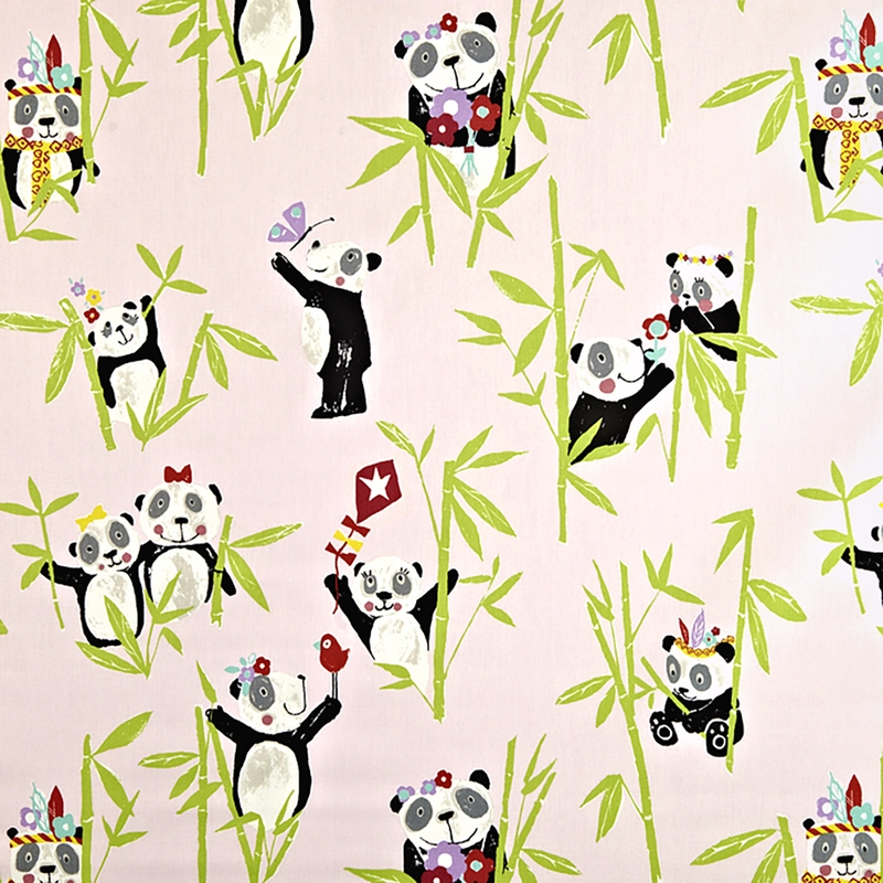 Kinderzimmer Stoff 'Pandabären' puderrosa