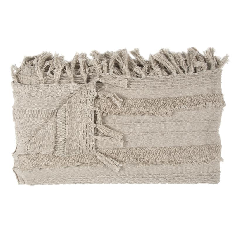 Strickdecke 'Air' Baumwolle natur 125x150cm