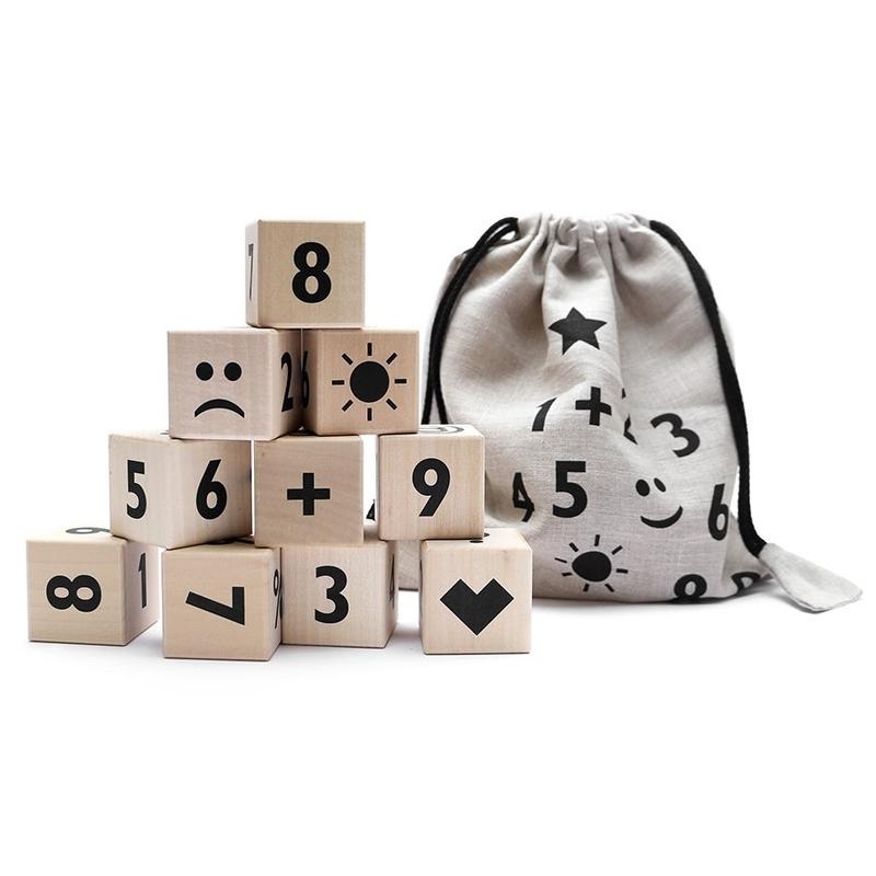 Holzwürfel Zahlen/Symbole schwarz ab 3 Jahren