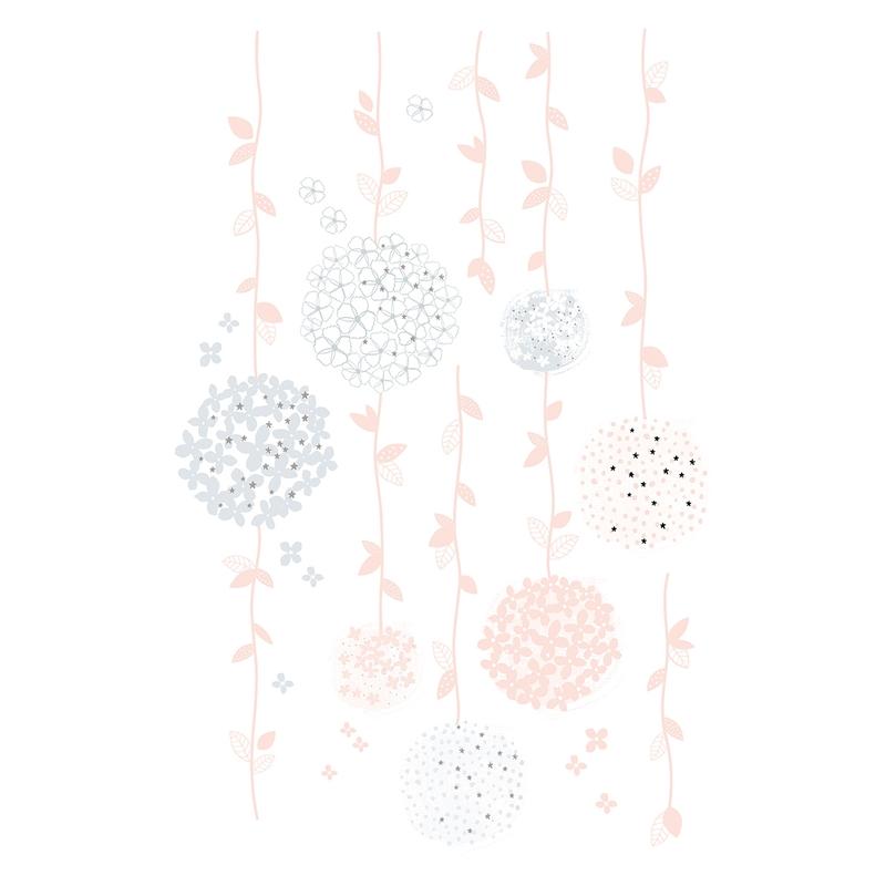 Wandsticker 'Blumenranken' grau/rosa 68cm