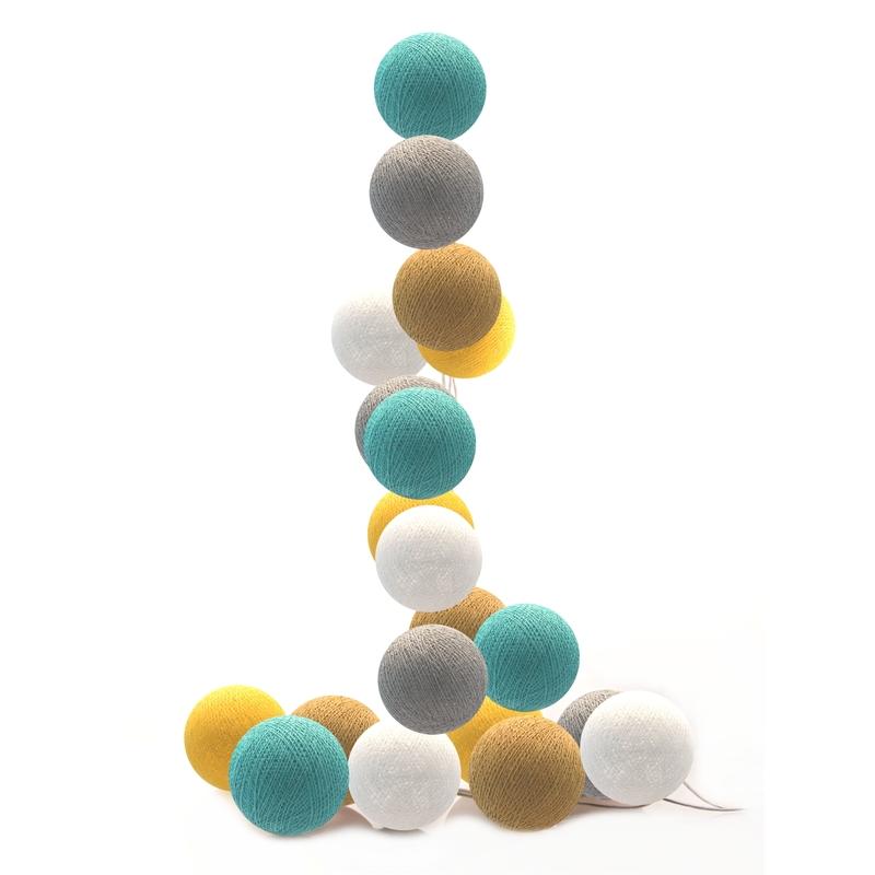 Lichterkette Cotton Balls LED senfgelb/aqua